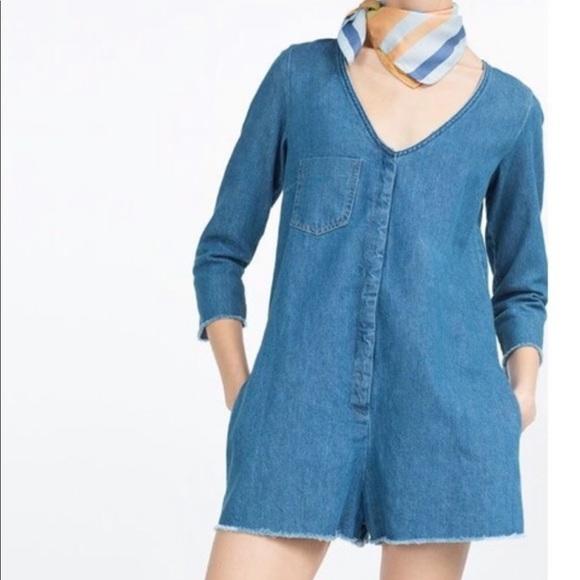 993af4527ef7 NWT Zara Trafaluc Denim Romper Jumpsuit S Frayed